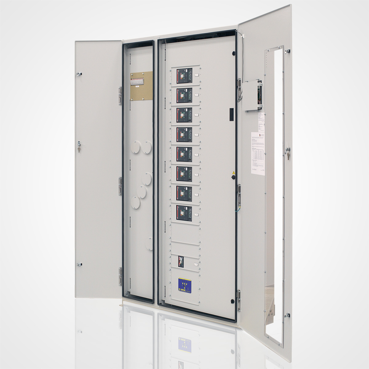 The LayerZero Series 70: eRDP Remote Distribution Panel with Outer Doors Open.